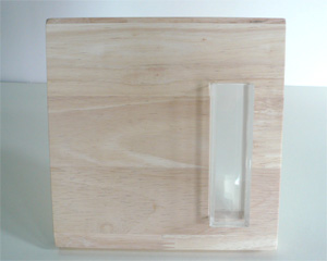 art display casing or vase, rubber wood panel with acrylic casing