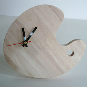 bean shape rubber wood panel, quartz clock